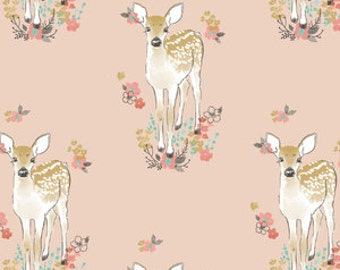baby girl bedding-fawn crib sheet- pink baby bedding- fitted crib sheet / mini crib sheet/ floral changing pad cover- woodland crib bedding