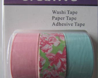 Set of 3 rolls of 3 meters of Masking Tape - Washi tape - pink, floral and green