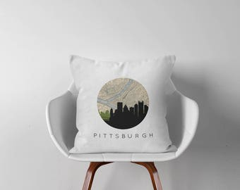Pittsburgh gifts | Pittsburgh skyline pillow | Pittsburgh Pennsylvania | Pittsburgh map pillow | Pittsburgh decor | Pennsylvania gifts