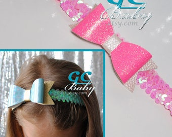 Sequin Stretch Headband with Holographic or Glitter Faux Leather Bow for Baby, Toddler or Little Girl in Aqua, Teal, Turquoise, Pink, Neon
