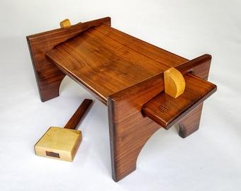 Walnut Meditation Bench With Knock Down Maple Tusks