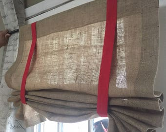 Burlap Panel with ties/ Farmhouse Curtains