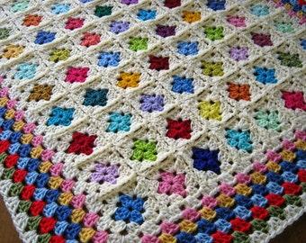 Nursery Baby Afghan Blanket Miniature Mini GRANNY SQUARES Crochet