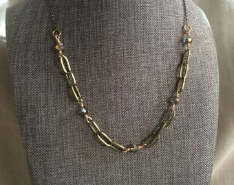Mixed Oxidized Sterling Silver and Brass Chain with Swarovski Crystals Necklace