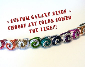 Galaxy Swirl Ring - Anodized Aluminum Wire - as worn by Elaine Bradley NEON TREES