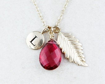 Gold Red Ruby Quartz Initial & Feather Necklace - Monogrammed Necklace - 14K GF