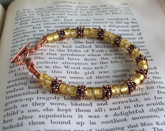 Golden - Gold Lined Glass Bead And Copper Leather Cord Bracelet  SRAJD