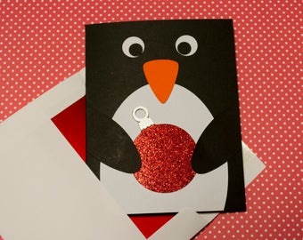 Penguin Christmas Card, Holiday Card, Penguin with Ornament, Merry Christmas, Greeting cards, set of 4, Christmas Cards, envelopes, Handmade