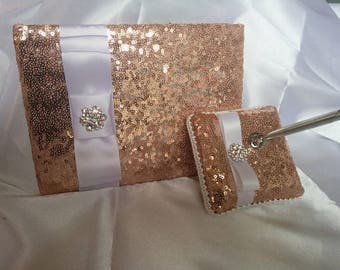 All colors- SEQUIN GUEST BOOK and Pen, ring pillow, or flower girl basket, Wedding, Bridal, Sequin,  Ribbon Choice, Bling