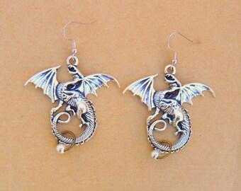 Steampunk dragon silver dangle earrings
