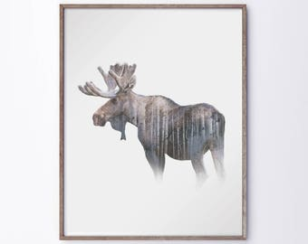 "Moose & Wildlife Double Exposure Modern Digital Art Print – 8"" x 12"", 12"" X 18"", 16"" x 20"", 20"" x 30"" or 24"" x 36"" - Custom Sizes Available"