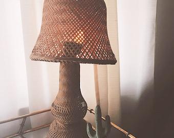 Vintage Wicker Rattan Lamp