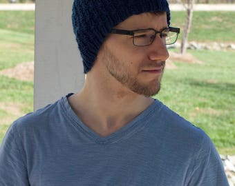 Hand knit Blue fitted Beanie, Gender neutral men's women's teen's college