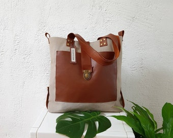 Cotton canvas and brown leather bag