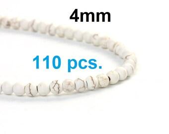 110 Beads - 4mm White Turquoise Imitation Dyed Round Beads - 16 1/8 inch strand