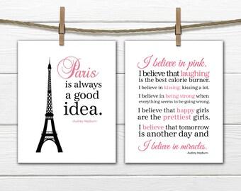 Paris is Always A Good Idea and I Love Pink set 2 8x10 Prints