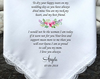 Mother Of Bride Wedding Handkerchief,Printed, Wedding Favors ,Flower Design-Personalized,Free Gift Box/Code MM1052