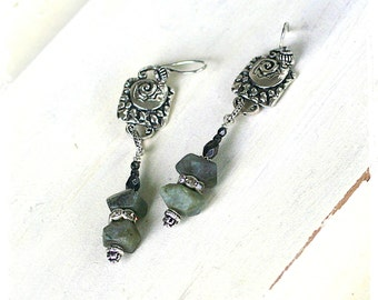 Boho Labradorite Earrings Gray Gemstone Long Dangle Earrings with Rhinestones, Urban Tribal Drop Earrings Gift for Girlfriend