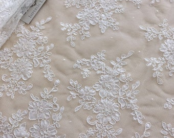white lace fabric, French Lace, floral lace, off white chantilly lace,  B00266