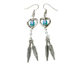 Dangling heart and silver feathers, turquoise blue square bead earrings