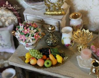 Dollhouse miniature metal leafy fruit bowl OOAK