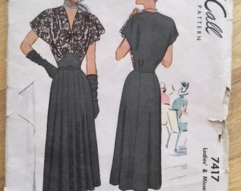 Vintage 1940s McCall's 7417 gored fitted waist dress