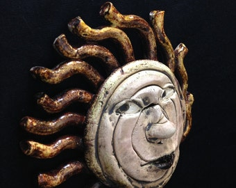 Sun Coil Mask - Ceramic Wall Mask Sculpture, One Of A Kind Home Decor Clay Face