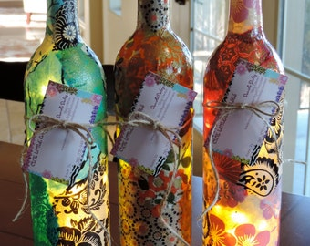 Custom Wine Bottle Lamp, Unique Wine Bottle Lamps, Nepalese Lokta Paper, Morrocan Home Decor Lamp
