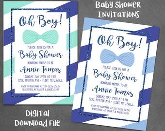 Oh boy! Baby Shower Invitation, digital, printable