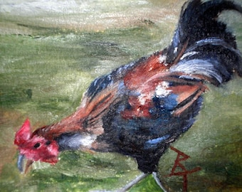 Rooster aceo ORIGINAL 2.5x3.5 inch Oil Painting