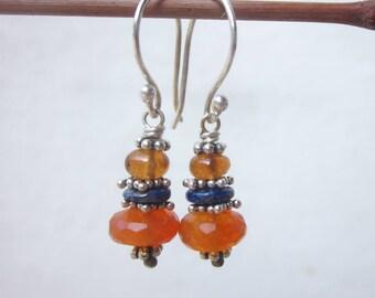 Carnelian Lapis Lazuli & Hessonite Garnet dangle earrings, sterling silver orange blue gemstone earrings, boho chic bohemian drop earrings