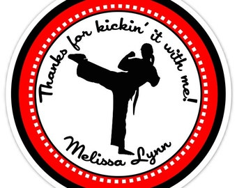 Custom Karate Birthday Labels, Girl's Karate Stickers, Girl Karate Stickers - Personalized for YOU