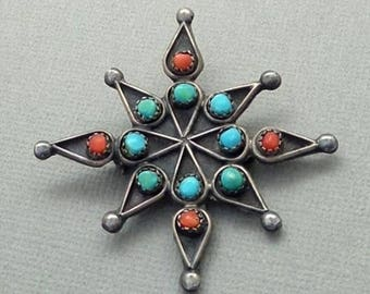 Sale Vintage Native American Indian Jewelry, OLD PAWN Snake Eye Turquoise Coral Brooch, Large STERLING Navajo Star Cross, Gift for Her