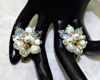 Pretty Vintage Vendome Baroque Pearl, AB Crystal  and Rhinestone Cluster Earrings