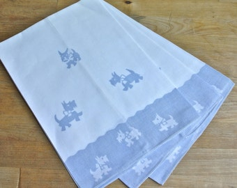3 White and Blue Linen Scotty Dog Towels.