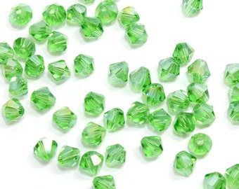 4mm Light Green Bi Cone Crystal Beads. (20) Green Crystal Beads for Jewelry. Green Bi Cone Crystals for Making Necklaces. Green Glass Beads