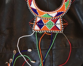 Vintage African Maasai Masia Beaded Tribal Collar Dangle Necklace Chest Plate
