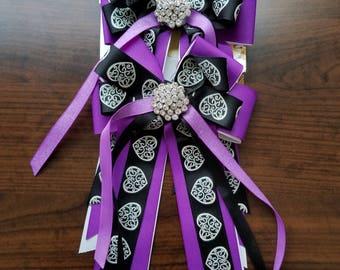 Purple, Black, & White Heart Equestrian Show Bows (Grand Champion Size)