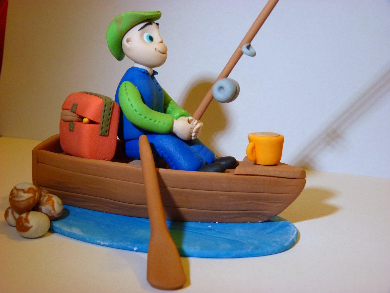 Fishing Fisherman and Boat Edible sugar paste decoration ...