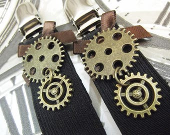 SteamPunk Skirt Clips, Cog & Gear Hitchers, Hitch-Up Clips, Suspender Clips