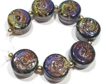 Handmade Glass Lampwork Beads, Rakuli Twist Tabs
