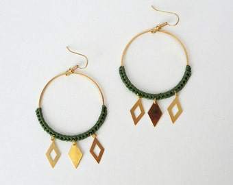 Maxi CERKIO kai earrings and gold / 11 colours / cotton weave / hoops/ethnic chic / geometric sleek