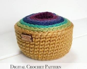 PDF Crochet Pattern / DIY Crochet Pattern / Crochet Nesting Bowl Pattern / Storage Bowl Pattern / Stacking Bowl Pattern / Rainbow Bowls