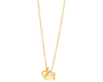 Three Initials Gold Vermeil Personalized Necklace - Delicate 14k Gold Filled Chain - 3 Small Gold Vermeil Initial Charms - 17in. Necklace