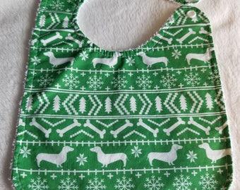 Baby Bib - Fair Isle Style (Ugly Christmas Sweater) Dachshund Baby Bib
