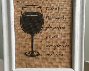 Wine Burlap Print; wine art