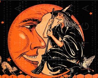 STUNNING HALLOWEEN Creepy WITCH Die Cut Image. Vintage Halloween Decor ! Vintage Digital Postcard Halloween Witch & Moon.