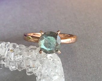 Natural Labradorite Ring, Rose Gold Hammered Sterling Silver Round Faceted Labradorite Genuine Stone Engagement And Promise Solitaire Ring
