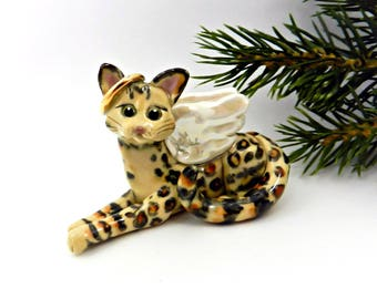 Bengal Cat Angel PORCELAIN Christmas Ornament Figurine Memorial