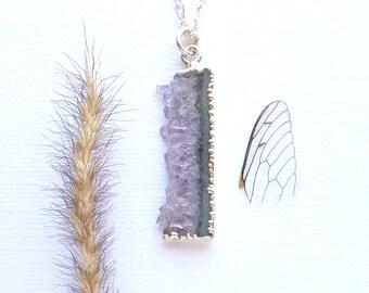 Amethyst Halskette Amethyst Geode Scheibe Silber Halskette Sterlingsilber galvanisiert Valentinstag Geschenk Februar Geburtsstein